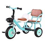 YWAWJ Formación niños Bicicleta Aire Libre Triciclo Doble plazas Kids' Triciclo Doble Twin 2 Opciones de Color Selección de Regalos de cumpleaños del Muchacho y Coches de Juguete (Color : Green)