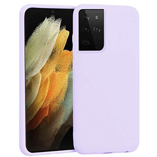 Ingen Funda para Samsung Galaxy S21 Ultra 5G, Carcasa de Silicona Líquida Gel Ultra Suave Funda Cover con Shock- Absorción, Funda Compatible con Samsung Galaxy S21 Ultra 5G - Púrpura