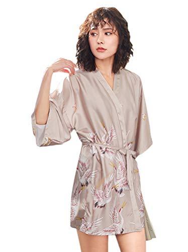 Minetom Damen Morgenmantel Kurz Seide Satin Kimono Kleid mit Gürtel Drucken Bademantel Robe Schlafmantel Mädchen Pajama Party Brautjungfer Brautdusche Geschenk B Khaki DE 42