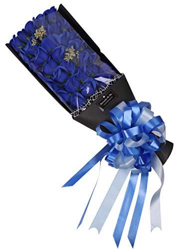 【Sialinxブランド】 ギフト ソープフラワー バラ の 花束 ブルー ギフトボックス 紙バッグ 付き プレゼント ローズ ブーケ 誕生日 石鹸 お祝い インテリア 造花 シャボンフラワー 青 薔薇 sia126