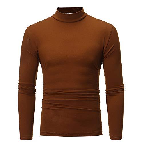 Xmiral Top Blouse Herren Pure Color Rollkragen Langarm T-Shirt Einfarbig Dünn Oben Pullover S-2XL(S,Kaffee)