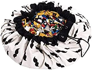 PERABELLO プレイマット おもちゃ収納 バッグ ラグ キッズマット おもちゃ 子どもプレイマット お片付け簡単 おしゃれ 直径140cm 大きいサイズ (おひげ柄)