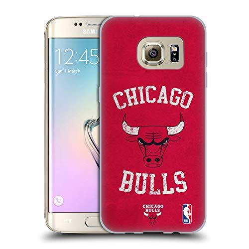 Head Case Designs Ufficiale NBA Aspetto Sdrucito 2019/20 Chicago Bulls Cover in Morbido Gel Compatibile con Samsung Galaxy S7 Edge