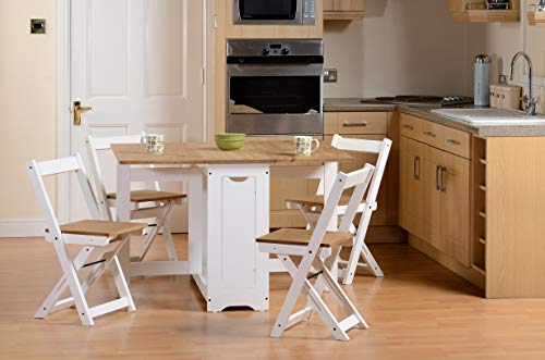 Drop Leaf Dining Table 4 Chairs Extendable Extending Wooden Furniture Small Space Saving Breakfast Pine Top Seat Folding Away Fold Out Kitchen Stools Seater Farmhouse Butterfly Vintage Room Set
