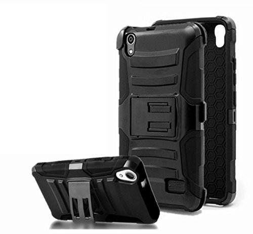 ZTE Warp Elite Case, Customerfirst Combo Rugged Shell Cover Holster with Built-in Kickstand and Holster Locking Belt Clip - Includes Key Chain (Black)