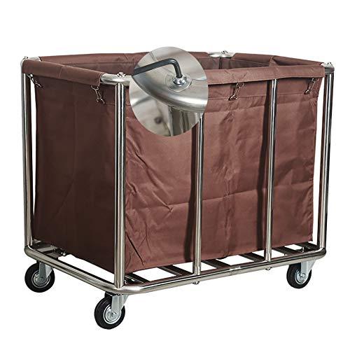 Wäschewagen YXX Abnehmbarer Wäsche Sortierer Hamper Wagen mit Rädern - Commercial Hotel Wäscherei Container mit Oxford-Stoff-Tasche (Color : Brown)