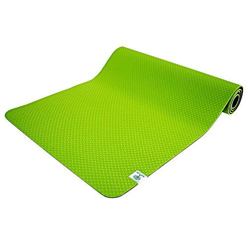 TechFit Yogamatte Fitness Gymnastikmatte Extra Dick 6mm mit Tragegurten, 173x61cm, rutschfest, Perfekt für Bodenübungen, Camping, Aerobic, Stretching, Bauchmuskeln, Pilates (Grün)