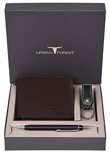 Urban Forest James Leather Wallet Combo for Men - Classic Medium Brown Men's Leather Wallet, Keyring & Pen Combo Gift Set for Men