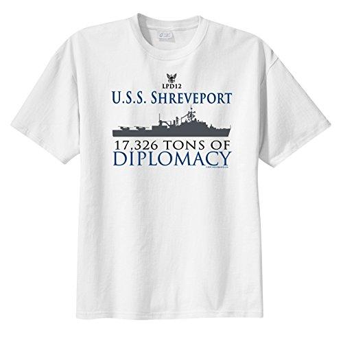 ShipShirts Men's LPD 12 USS Shreveport 17,326 tons of Diplomacy Short Sleeve T-Shirt White XXL