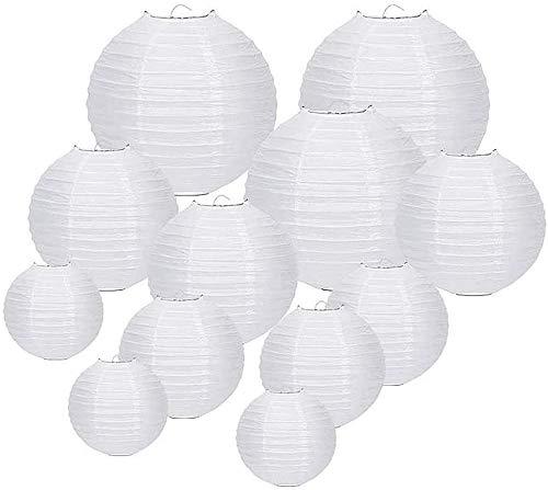 Farolillos de papel, Paquete de 12 linternas de papel chinas, farolillos de papel colgantes, 6', 8', 10', 12'con hilo de pesca de monofilamento para decoraciones de banquetes de boda