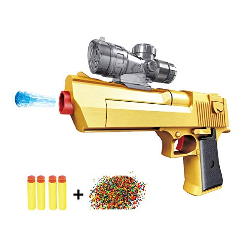 HXIA Golden Desert Eagle Toy FoamGun Dual-Purpose Pistol +10000 Crystal Bullet (Yellow)