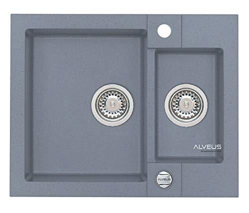 Alveus Küchenspüle aus Granit mit Einzel- und Halbschale Rock 80-Stahl 4218004