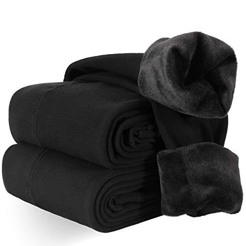 2 Pares Leggings Térmicas Mujer, Negro Cálidas de Invierno Leggings para Mujer Terciopelo Elástico Mallas Pantalon Termico(Talla única)