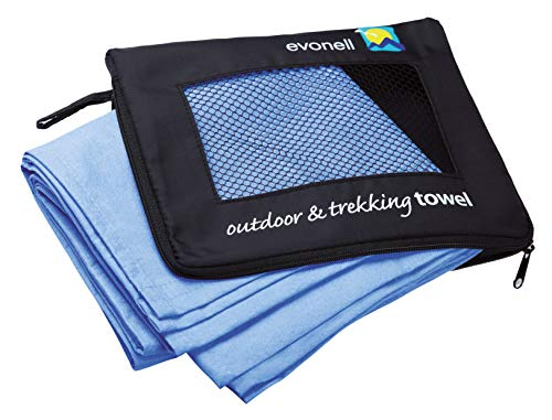 Evonell ultra leichte Sport und Trekking Towels Sporthandtücher aus Mikrofaser (Blau, 66 x 120 cm)