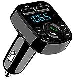 SOOTEWAY Transmisor FM Bluetooth, Transmisor de Radio Inalámbrico Kit Adaptador de Coche con Función Manos Libres, Puertos USB Dobles (5V / 2.4A y 1A), Acepta Tarjetas SD, USB, y Flash Drive