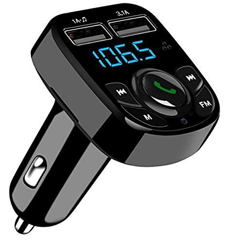 SOOTEWAY Trasmettitore FM Bluetooth,FM Transmitter per Auto Radio, MP3 Audio Lettore, Adattatori Vivavoce Car Kit, Caricabatterie Auto con 2 Porte USB (5V/2.4A & 1A) Supporta Scheda TF/U Disk (Nero)
