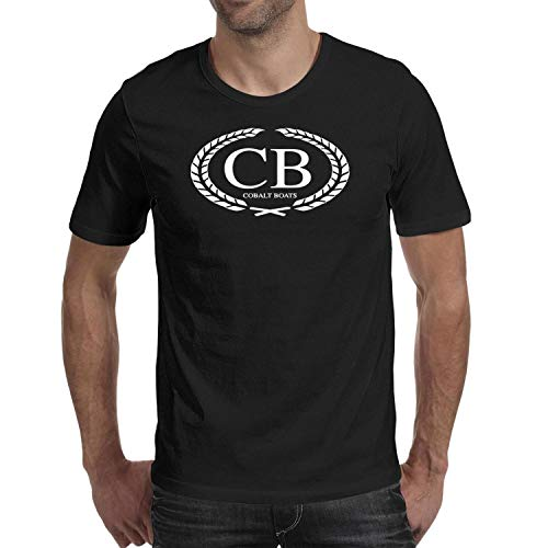 Mens Cotton Cobalt-Boats-Logo-CB-White- T Shirts Crewneck Short-Sleeve Tees