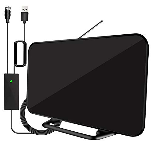 Newest 2020 Outdoor Indoor TV Antenna 200 Miles Range with Built-in Amplifier,Digital HDTV Antenna with 36ft Long Coax Cable Support All Television,for Free Local Channels 4K HD 1080P VHF UHF