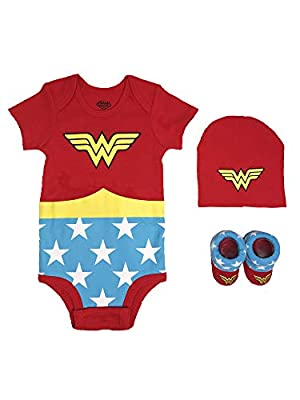 DC Comics Baby Girls Superman, Flash, Batman 3-pc Set in Gift Box, Wonder Woman red, 0-6