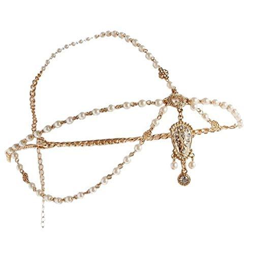 Las vendas de boda de la novia joyería de la cadena flor de la perla de las borlas del pelo de Boho del casco de la cabeza de la cadena de joyería de pelo para mujeres y niñas