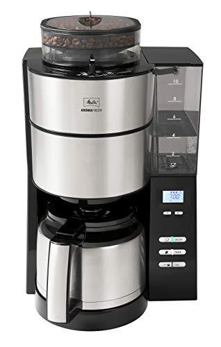 Melitta AromaFresh 1021-01 Filter-Kaffeemaschine mit Therm-Kanne und integriertem Mahlwerk, ca. 10 Tassen, schwarz