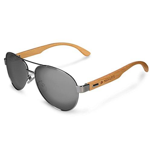 Navaris Gafas de sol polarizadas de madera - Lentes con protección UV400 - Gafas de bambú - Diseño unisex para hombre y mujer - Lentes grises