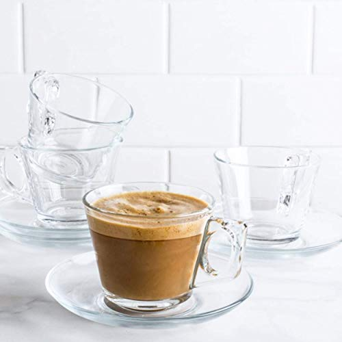 """Pasabahce 97302 - 6 tazas de café con platillo """"Vela"""", para té, café y capuchino, para 6 personas"""