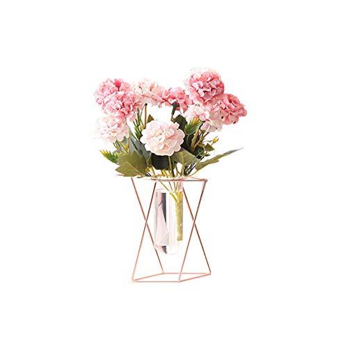 REUJKK Glass Flower Vase With Geometric Metal Rack Stand, Metal Stand Cylinder Clear Vases For Flowers Decoration For Living Room Bedroom Bathroom Kitchen
