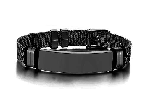 Vnox Bracciale con Cinturino per Orologio Nero Personalizzato Bracciale in Acciaio Inossidabile con Etichetta Identificativa con Cinturino Regolabile per Uomo, Donna,Incisione Gratuita