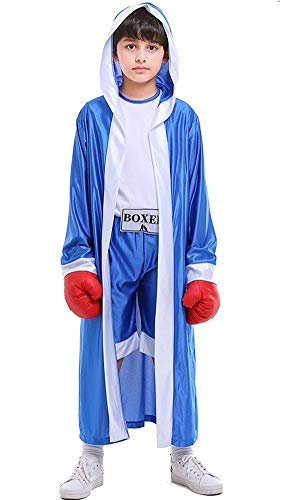 Lolanta Jongens Boksen Hooded Kostuum Kids Halloween Knock Out Boxer Kostuum Robe+Jumpsuit+Handschoen Set, 5-6 years, Blauw