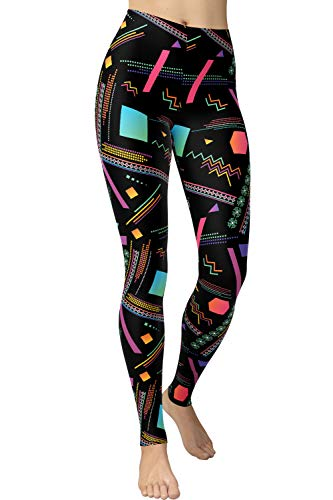 Women's Plus Size 80s Geometric Pattern Print Leggings.