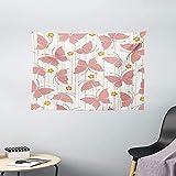 Colección de decoraciones de mariposas Patrón de mariposas Flores pequeñas con puntos digitales artísticos Rayas Dormitorio Sala de estar Dormitorio Tapiz para colgar en la pared 60 'X 40'