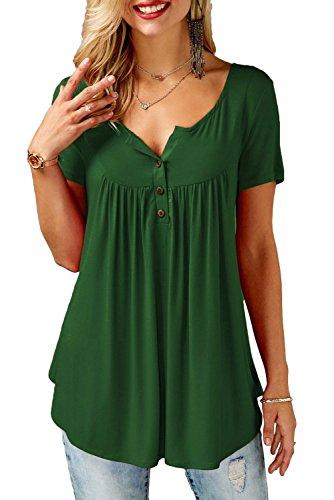 Bequemer Laden T-Shirt Damen Sommer Kurzarm Tunika Knopfleiste Bluse Casual locker Longshirt Oberteile Top,Dunkelgrün,XL