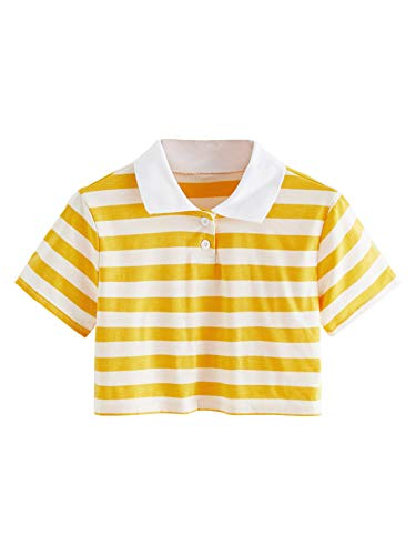 SweatyRocks Women's Collar Short Sleeve Stripe Crop Top T-Shirt Yellow White S