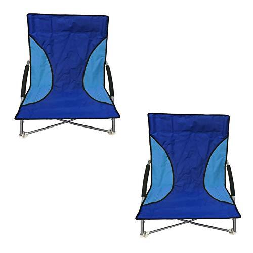 Nalu Juego de 2 sillas de playa plegables asiento bajo azul