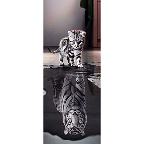 HEDDK 3D Türposter Selbstklebend Tür Aufkleber Wandbilder PVC Wasserdicht Selbstklebende Katze Und Tiger Wohnzimmer Schlafzimmer Home Wanddekorationen Tapete Wandtattoo