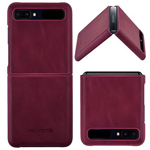 KEZiHOME Samsung Galaxy Z Flip Case/Z Flip 5G Case, Genuine Leather Samsung Z Flip Case, Minimalist Ultra Thin Slim Durable Protective Phone Case Cover for Samsung Galaxy Z Flip (Wine Red)