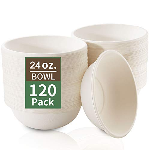 Nervure 120 Pack Biodegradable Paper Bowls - 24 oz. Compostable Disposable Bowls Made by 100% Sugar Cane Fibers - Perfect for Cereal, Salads and Soups