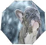 Paraguas automático lindo divertido perro a prueba de viento compacto, invierno encantador cachorro viaje sol lluvia al aire libre paraguas