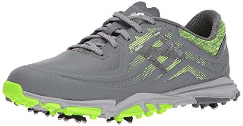 New Balance Men's Minimus Tour Waterproof Spiked Comfort Golf Shoe, Dark Grey/Green, 9 D D US