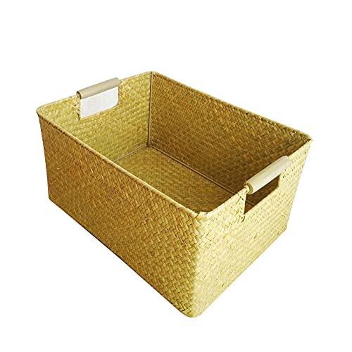 DSH Cesta de almacenamiento de escritorio hecha a mano, mango de madera, caja de almacenamiento, sala de estudio, cesta de almacenamiento de ropa de dormitorio, toalla Lou, TRE pezzi