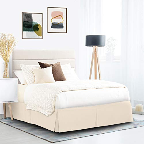 """Pleated Bed Skirt, Wrap Around Bed Skirt, Easy Fit 14"""" Inch Bed Skirt, Soft Double Brushed Premium Microfiber Ruffle Bed Skirt, Luxury Bedskirt, Hotel Quality Dust Ruffle, Twin Bed Skirt Cream"""