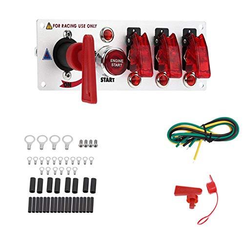 Alta calidad duradera fuerte conveniente 12V auto DIRIGIÓ Alternar el panel del interruptor de encendido Racing Motor de coche Start Start Juego de ajuste (Color : 4 Toggle Switch)