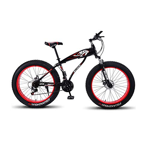 GYZLZZB Colored Rim Cross-Country Beach Snowmobile 26' Mountain Bikes,7 Speed Bicycle,Adult Fat Tire Mountain Trail Bike,Aluminium Alloy Frame Dual Full Suspension Dual Disc Brake(Black and Red)