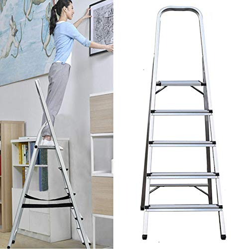 5 Tread Step Ladder Aluminium Lightweight Ladder Foldable & Portable Non-Slip Ladders 150KG Capacity EN131 Steps for Home Garden DIY