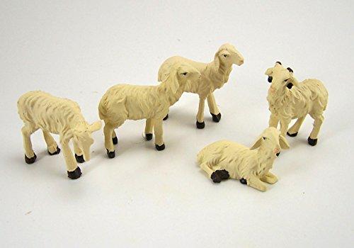 Dekoprojekt Weiße Schafe 5 TLG. aus Polyresin für Weihnachtskrippe, Größe bis 5 cm.