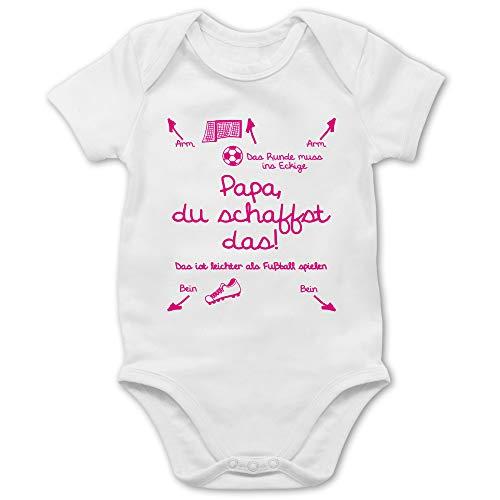 Shirtracer Strampler Motive - Papa du schaffst das Fußball Mädchen - 3/6 Monate - Weiß - Body mädchen fußball - BZ10 - Baby Body Kurzarm für Jungen und Mädchen
