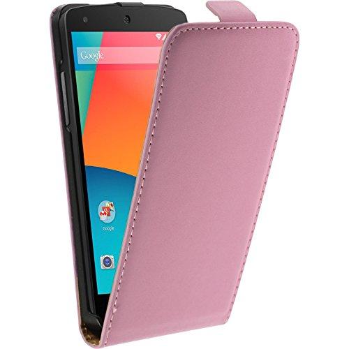 PhoneNatic Kunst-Lederhülle kompatibel mit Google Nexus 5 - Flip-Hülle rosa + 2 Schutzfolien