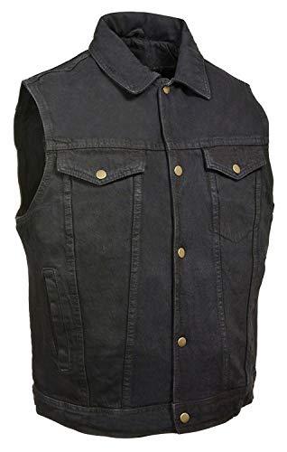 Men's Snap Front Denim Vest w/ Shirt Collar (Black, L)