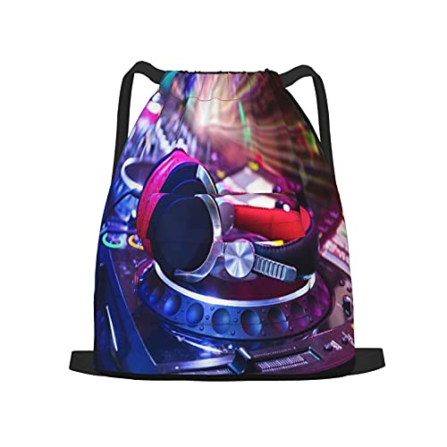 USOPHIA Sac à dos à cordon,Table de mixage Dj avec un casque à la discot, Sac de sport pour hommes, femmes, enfants, sac à cordes de camping, de voyage et de yoga.